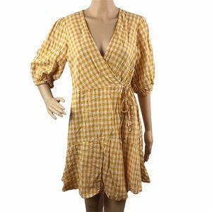 Lush Balloon Sleeve Wrap Dress Yellow Gingham